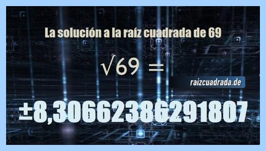 Número finalmente hallado en la resolución operación raíz cuadrada del número 69