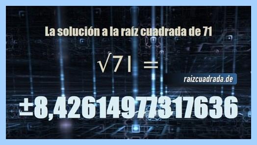 Número final de la resolución raíz cuadrada de 71