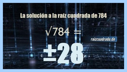 Solución conseguida en la raíz cuadrada de 784