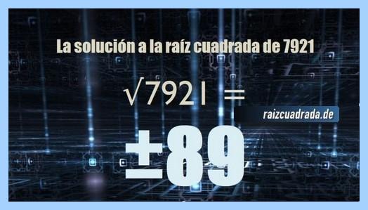 Resultado final de la raíz del número 7921