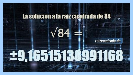 Solución conseguida en la operación raíz cuadrada de 84