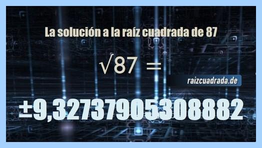 Solución obtenida en la raíz de 87
