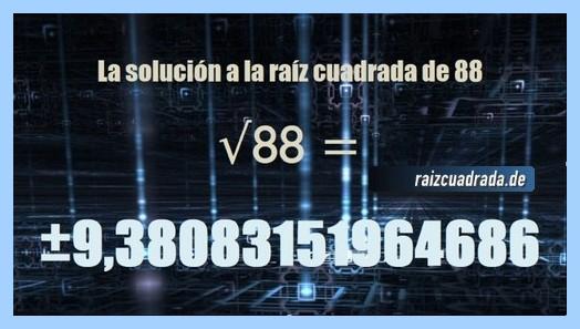 Solución que se obtiene en la resolución raíz cuadrada del número 88
