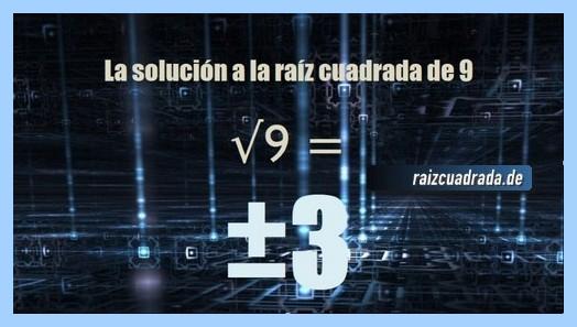 Resultado finalmente hallado en la resolución raíz cuadrada del número 9