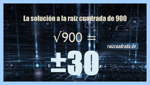 Número que se obtiene en la resolución operación matemática raíz del número 900