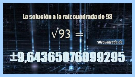 Solución final de la resolución operación matemática raíz de 93